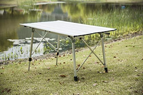 WOLTU CPT8132sb Tavolo da Campeggio Pieghevole Portatile per Picnic Giardino Altezza Regolabile in Alluminio 120x68,5x59/78,5 cm 3 spesavip