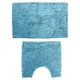 Hemoton 2Pcs Badteppich Set Chenille Badematte Anti-Rutsch-Saugfähige Luxus Shaggy Badteppich Plüschteppich für Badewanne Duschraum Blau