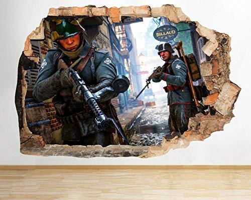 Adhesivo decorativo para pared, diseño de soldados con armas de batalla de guerra
