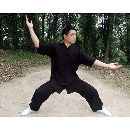 ZYQDRZ Ropa De Artes Marciales, Ropa De Tai Chi De Algodón Y Lino, Ropa De Tai Chi, Trajes Incluidos Ropa Y Pantalones,Negro,XL