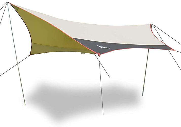 Baches de Tente de Mouche de Pluie d'hamac de LIUSIYU 3 x3m - 4m de Camping imperméable légère de sortilège, Anti-UV abri pour la randonnée de Voyage de pêche de Sac à Dos