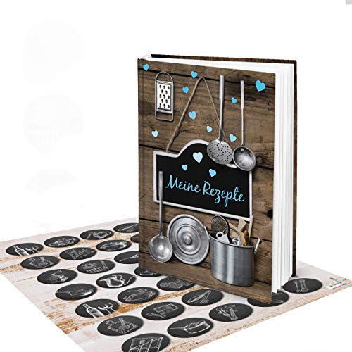 blanches livre pour livre de recettes Turquoise + 35 autocollants patch macaron brodeur\