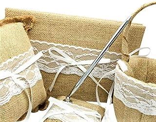 4Pcs/Set Burlap Wedding Guest Book + Pen Set +Flower Girl Basket + Ring Pillow (Burlap)