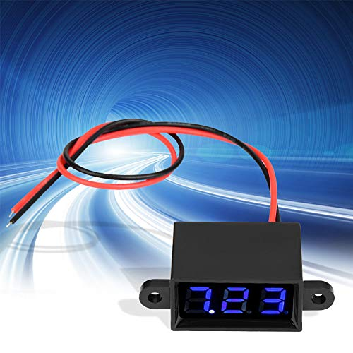 Voltímetro Digital de Dos Cables con Pantalla LED sellada de 0,28 Pulgadas DC 3,0-30 V de Dos Cables para Interiores(Font Backlit Blue)