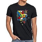 style3 Cubo Mágico Explosión Camiseta para Hombre T-Shirt, Talla:XL