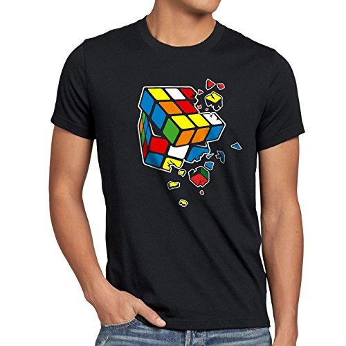 style3 Cubo Mágico Explosión Camiseta para Hombre T-Shirt, Talla:L