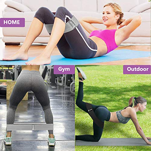 Becheln Non Slip Resistance Bands for Legs and Butt, Hip Workout Exercise Bands, Fabric Glute Bands for Women, 3 Pack - Training Ebook and Video Included