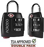 Acrodo acrodo_tsacomblock_black_single All Metal Combination Padlock with Inspection Alert, TSA Approved Suitcase Lock