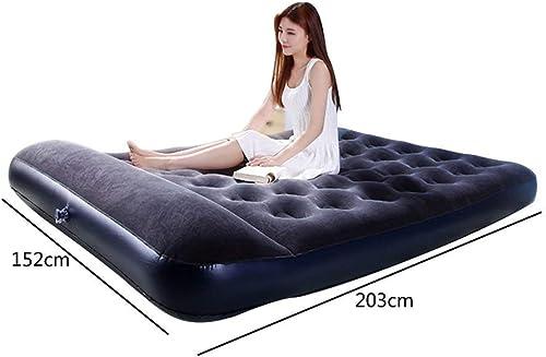 MOM Lit d'air portatif extérieur d'air de tente de camping de lit d'air de ménage de matelas d'air de ménage de lit double gonflable noir,Pompe électrique à bord