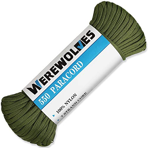 WEREWOLVES 550lb Paracord/Parachute Cord Type III 7 Strand  100% Nylon Core and Shell  Multiple Colors 100 Feet Olive Green 100 feet