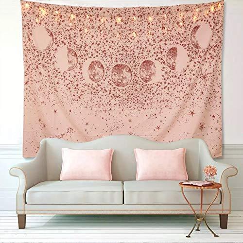 N/A Tapices 3D Impresión Cielo Estrellado Luna Tapiz Colgante de Pared Naranja Rosa Mandala Bohemio Alfombra de Pared Manta de Yoga cabecera de Dormitorio nórdico Bohemio decoración del hogar