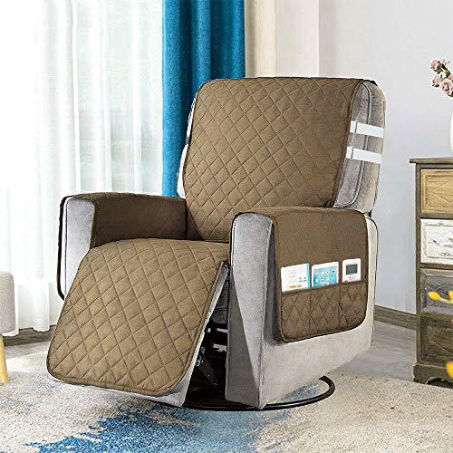 Funda para silla reclinable con 2 correas de sujeción blancas, 6 bolsillos laterales y hebillas ajustables, protector de muebles para sillón libre de cualquier mancha o piel de mascota