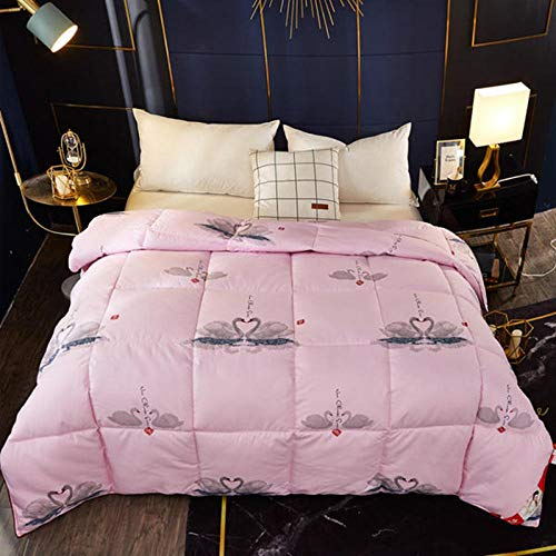 Superking Duvets Double Size Duvet White Goose Feather and Down Duvet 100% Cotton Shell Anti-dust mite & Feather-proof Fabric, All Season-pink_200x230cm-2500g
