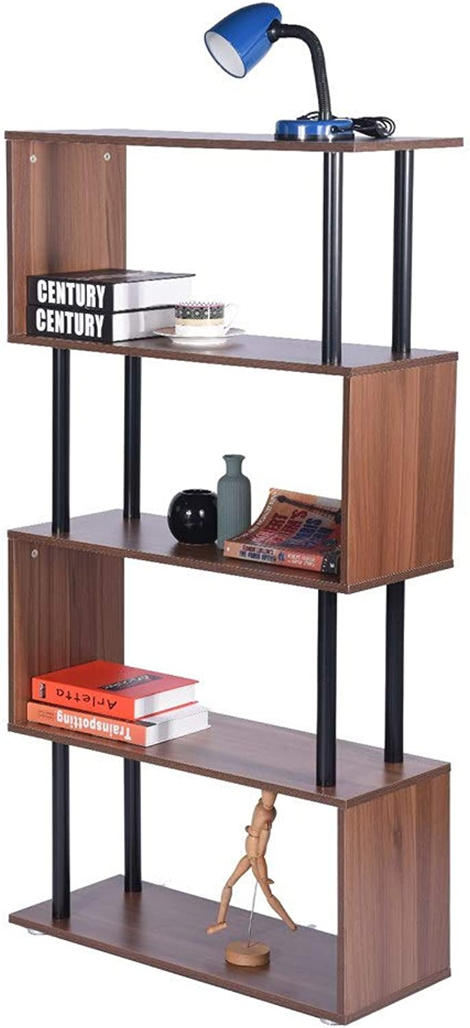GreenForest Storage Shelf, 4 Tiers Bookcase with Open Shelves, Wood Storage Display Unit for Bedroom Living Room Bedroom Home Office, Walnut