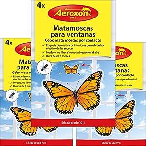 AEROXON - 3x4=12 Piezas - Matamoscas Papa Ventanas - Cebo Mata Moscas por Contacto