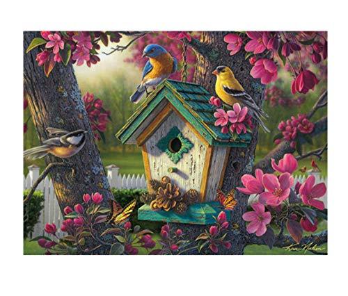 DIY 5D Diamant Schilderij Drie vogeltjes nest door Aantal Kits, Schilderij Cross Stitch Volledige Boor Kristal Strass Borduren Foto's Kunst Ambacht voor Thuis Muurdecoratie Gift,