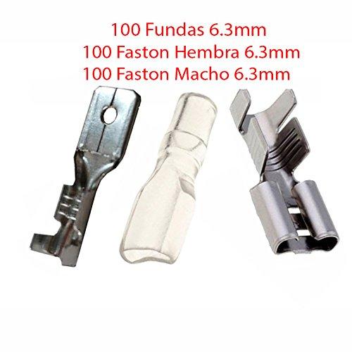 Pack 200X Terminal Faston 6.3 mm 100 Hembras y 100 Machos + 100 Fundas Transparentes 6.3