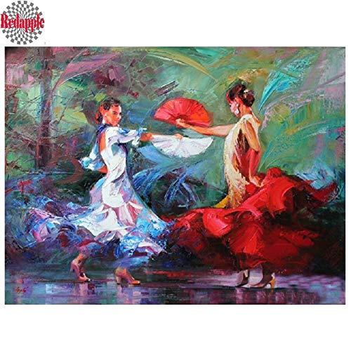 FHGFB 5D DIY Conjunto de Pintura de Diamantes Tango Mujeres Danza Hecha a Mano Punto de Cruz Pintura de Resina Estudio Sala de Estar Dormitorio decoración de Pared Diamante Redondo sin Marco -40x50cm