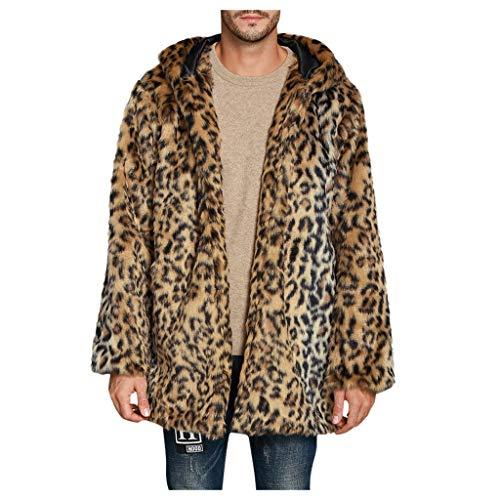 Cinnamou Homme Manteau épais Manteau à Capuchon léopard Chaud Pardessus de Fausse Fourrure Vest Longue Slim Fit Capuche en Fourrure Amovible Blousons