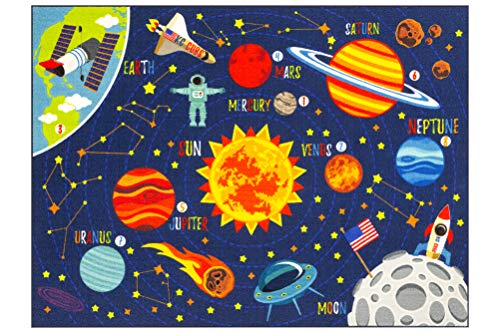 "KC CUBS Playtime Collection Space Safari Road Map Educational Learning & Game Area Rug Carpet for Kids and Children Bedrooms and Playroom (5' 0"" x 6' 6"")"
