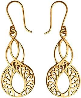 oval Messing Ohrringe Achter-forma linee ondulate antico golden orecchini Tribal