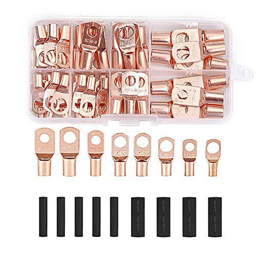 MHwan Kupfer-Kabelschuhe Verbinder, Kabelschuhe, 60 Stück Open Barrel Copper Ring Lug Terminals mit 80 Stück Wärmeschrumpfschlauch zum Crimpen oder Löten, 140 Stück