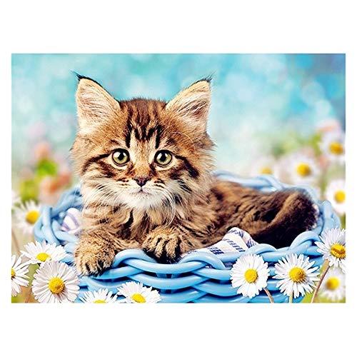 PJFYMG Kit de pintura de diamante para manualidades de gato, para adultos y niños, con taladro completo, punto de cruz de cristal, para decoración de pared del hogar, 40 x 30 cm