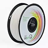 3D BEST-Q Flexible TPU 1.75mm 3D Printer Filament, Dimensional Accuracy +/- 0.03 mm, 1KG Spool, 8 Color to Choose (White)