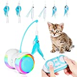 Juguete para gatos eléctrico interactivo con mando a distancia inteligente, con ruedas LED de color USB recargables, para jugar solo, fitness para mascotas, juguete intelectual