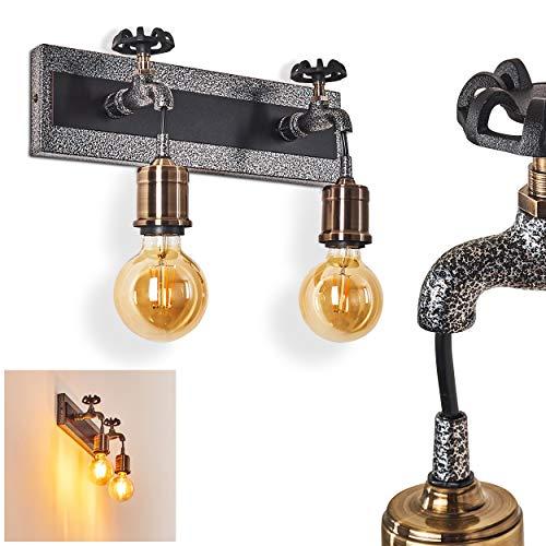 Wandleuchte Vexan aus Metall in schwarz-grau, 2-flammige Wandlampe im Vintage Design, 2 x E27 max. 60 Watt, Innenwandleuchte mit Lichteffekt, geeignet für LED Leuchtmittel