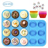 Numola 2 Packs Silicone Muffin & Cupcake Baking Pans, 100% Food Grade Non-Stick Silicone Baking Molds with 6 Packs Baking Cups & 24pcs Cupcake Toppers for Baking Cakes