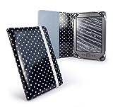 Tuff-Luv Schutzhülle für Amazon Kindle 4 / Kobo Touch 15,2cm / 6Zoll (Book-Style, Design Polka Hot Black), Schwarz