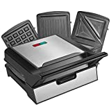 REDMOND Waffle Maker, Sandwich Maker, 800-Watts 3-in-1 Function Stainless Steel Maker with Detachable Non-stick Coating...