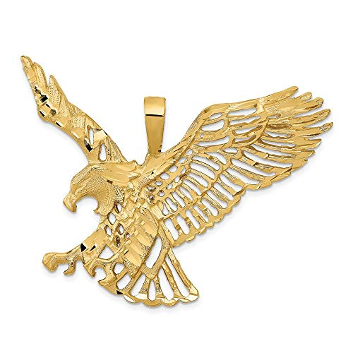 14k Yellow Gold Large Eagle Pendant Charm Necklace Bird Fine Jewellery For Women Gifts For Her