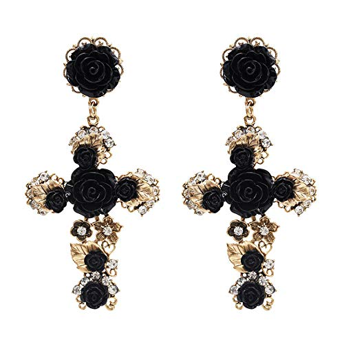 Nuevos pendientes de perlas exagerados europeos y americanos pendientes cruzados estilo pasarela retro accesorios femeninos-negro