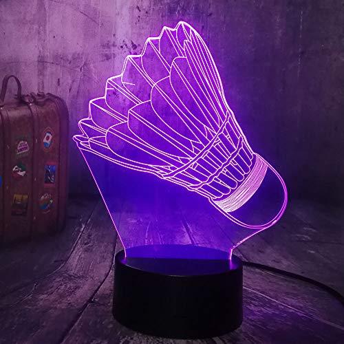 KangYD LED Badminton 3D Nachtlicht, Multicolor Lampe, Home Decor, Kind Kind Spielzeug, Touch 7 Farbe (Crack White), Bunt, Weihnachtsgeschenk