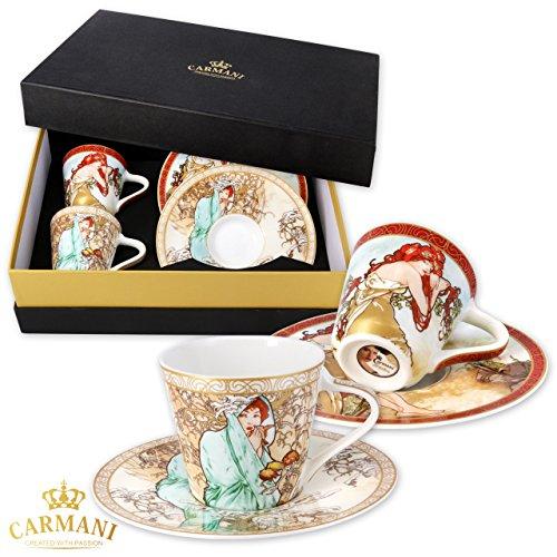 CARMANI - Set mit 2 kleinen Tassen und Untertassen mit