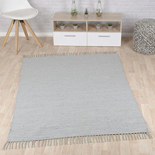 Taracarpet Flachweb-Baumwollteppich handgewebter handweb-Teppich Fleckerl Amrum aus 100% Baumwolle -auch bekannt als Dhurry oder Flickenteppich Uni grau 060x120 cm