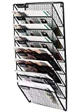 PAG 8 Pockets Wall File Holder Wall Mounted Mail Organizer Metal Chicken Wire Hanging Maganize Rack, Black