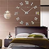 Frameless 3D DIY Silent Wall Clock Mirror Surface Decorative Clock Large Wall Stickers Clock for Living Room Bedroom Office Home Decorations (Silver)