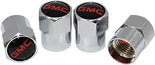 Funsport Silver Car Tire Valve Air Stem Cap Universal Car Logo Stem Cover 4 PCS Set Car Accessories (Fit GMC)