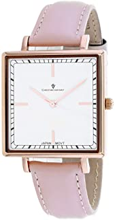 Christian Van Sant Women's Callista Stainless Steel Quartz Leather Strap, Pink, 18 Casual Watch (Model: CV0414)