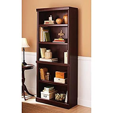 5 Shelf Cherry Bookcase Wooden Book Case Storage Shelves Wood Bookshelf Library