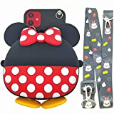 iPhone 5 Cute Case, iPhone SE Case 3D Cartoon Silicone Wallet Mouse Dot Purse Headset Bag Crossbody Strap Lanyard Case for Apple iPhone 5 5S / iPhone SE