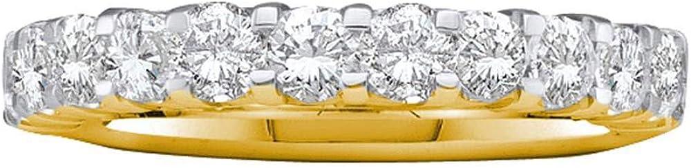 Solid 14k Max 67% OFF Yellow Gold Max 86% OFF Machine Set Wedding Ring Round Ban Diamond