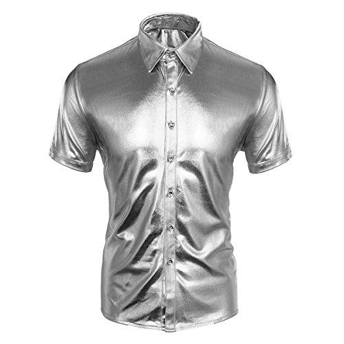 Cusfull Herren Hemd Metallic Glänzend Kurzarmshirt Glitzer Schlank Fit Kostüm für Nightclub Party Tanzen Disco Halloween Cosplay (XXL, Silber)