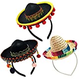kockuu 3 Pack Sombrero Hats Mini Mexican Party Hat with Headband for Kids Boys Girls Adults Fiesta Mexican Birthday Cinco de Mayo Party Decorations