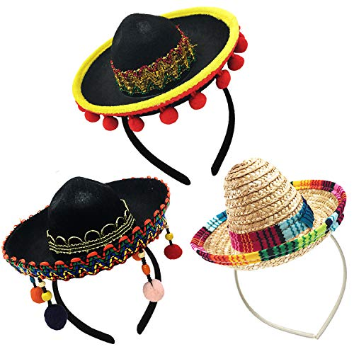 3 Pack Sombrero Hats Mini Mexican Party Hat with Headband for Kids Boys Girls Adults Fiesta Mexican Birthday Cinco de Mayo Party Supplies Black