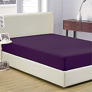 Mellanni Fitted Sheet King Purple Brushed Microfiber 1800 Bedding - Wrinkle, Fade, Stain Resistant - Hypoallergenic - (King, Purple)
