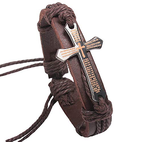 MUZHE Bible Verse Cross Leather Bracelet Religious Christian Vintage Brown Alloy Rope Wrap Adjustable Bangle (Brown)